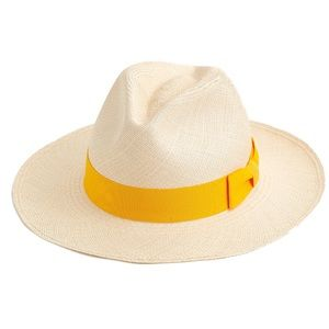 J. CREW Handmade Panama Sun Hat Yellow Ribbon